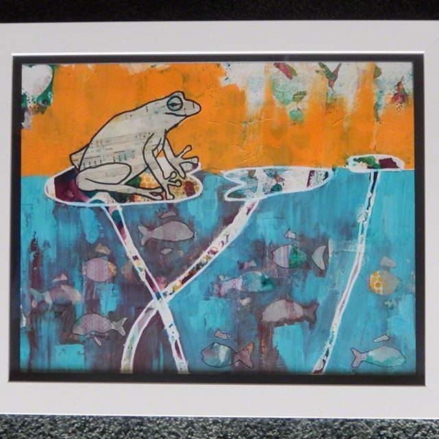 Newly framed ! So pleased with the #frame for my 'Frog Music'. These Music in the World pieces are inspired by the vulnerability of the #wildlife on the #planet and thinking about how they fit into our culture and what a loss it would be not to have them.  #homedecor #intuitive_art #colourful #animallovers #naturelovers