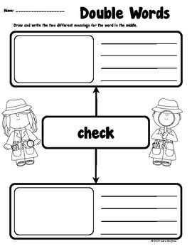 Double Words Pack - Vocabulary - This is a pack of pre-made vocabulary sheets. Kids draw and write descriptions of words that have multiple meanings. There are 30 different words included in this pack. Some of the words are; bow, check, fly, rose, home, bowl, tag, cool, season. $