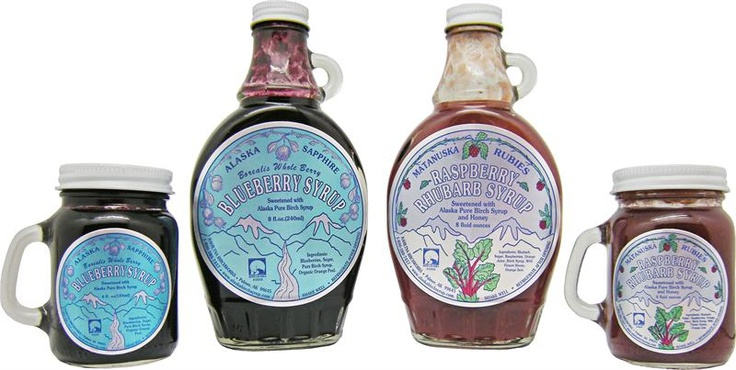 Alaska Gifts | The Great Alaskan Bowl Company - Raspberry Rhubarb & Blueberry Syrups
