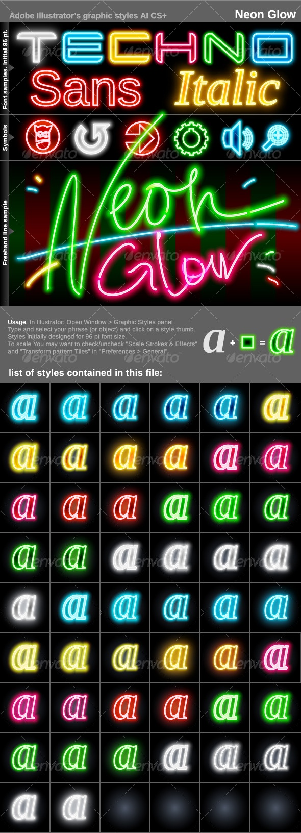 Illustrator Graphic Styles. Neon Glow