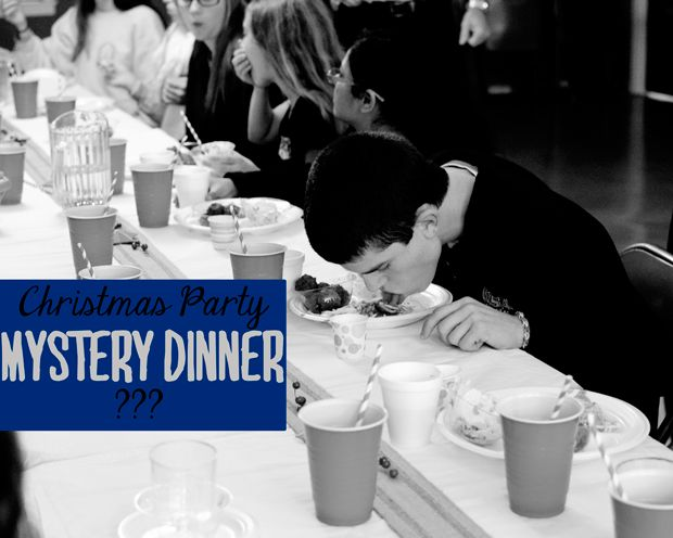 Mystery Dinner – youth group Christmas Party – would be fun to do as a family Christmas party too. Mystery dinner menu and how to ideas.