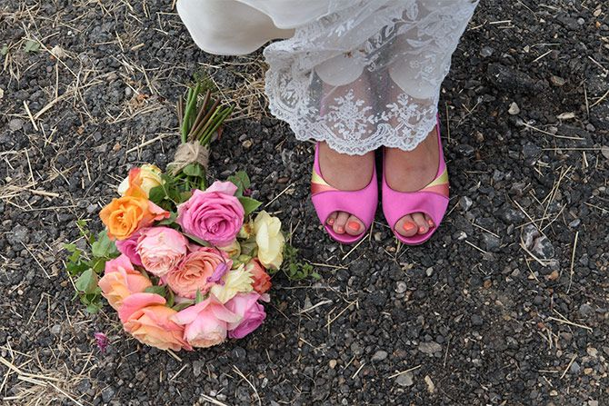 bouquet and wedding shoes vintage
