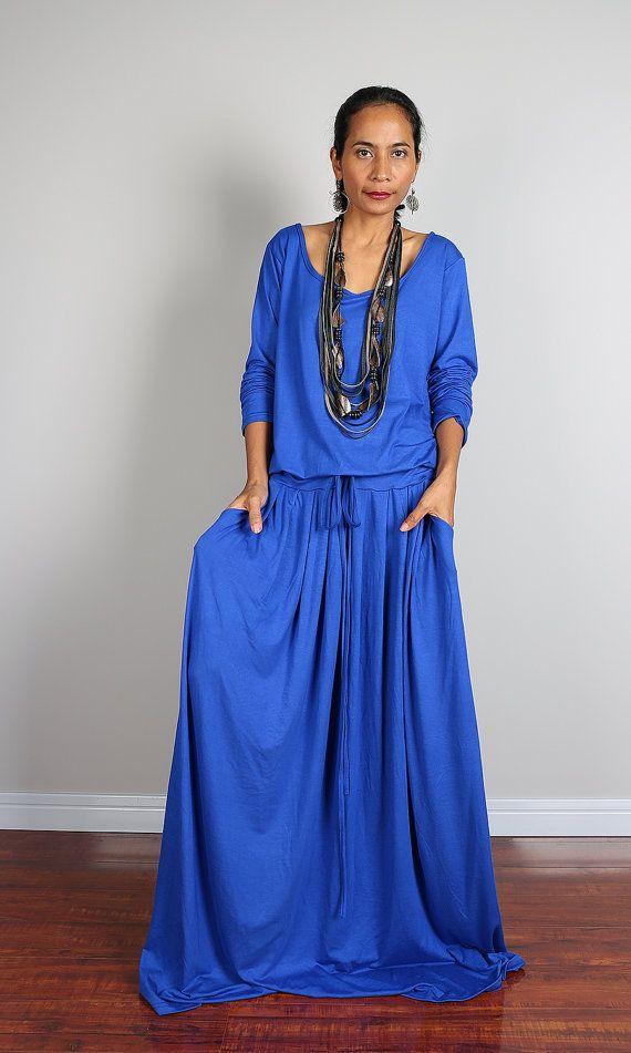 Blue Maxi Dress   Long Sleeved Blue Maxi dress : Autumn by Nuichan