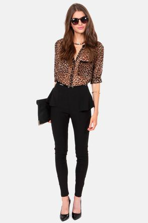 Peplum Pants with a leopard print button down
