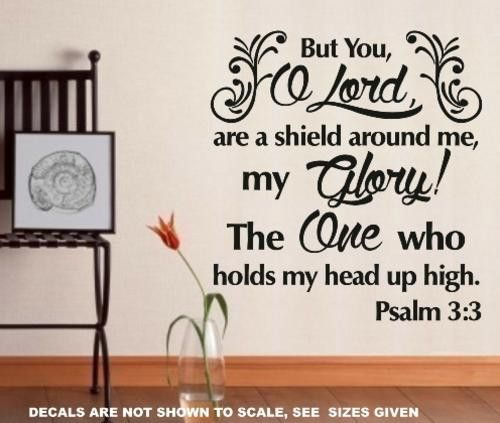 PSALM 3:3 BIBLE QUOTATION 1 STICKER EXTRA LARGE VINYL DECAL – Vinyl Lady Decals