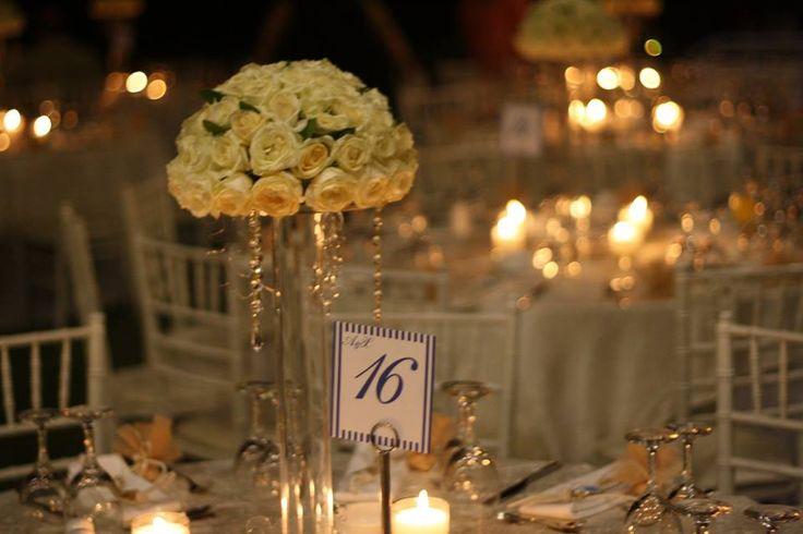 centerpiece ,plexiglass stand & roses