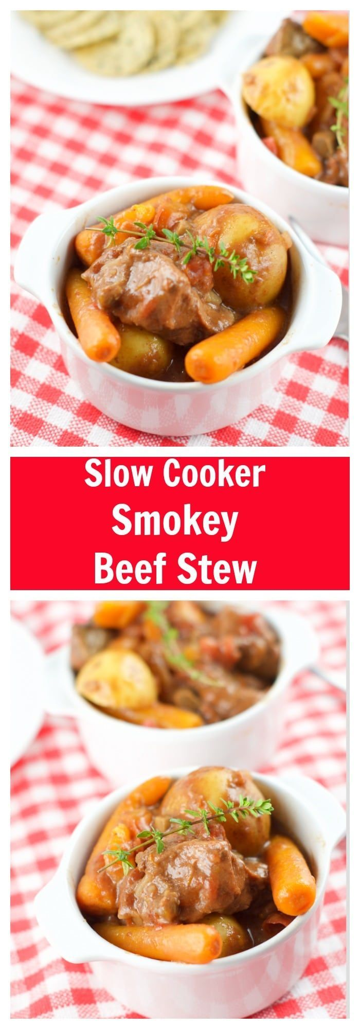 This easy to make Slow Cooker Smokey Beef Stew Recipe has a deep complex taste. The beef melts in your mouth! This is the ultimate comfort food. More slow cooker recipes at livingsweetmoments.com  via @Livingsmoments
