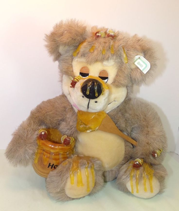 ORZCK Plush/Stuffed Animal, Teddybear Sitting An Eating Honey With Little Honey Bees Sitting On Him. Great collectible plush. Bear is in great preowned condition, a couple of the bees are missing their eyes.   eBay!