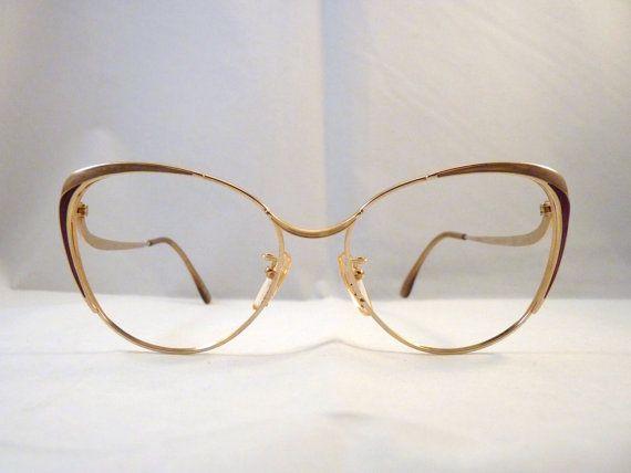 80s Cat Eye golden frames - grandma style - Ellebi Nordic Vintage Eyeglasses for Women - NOS