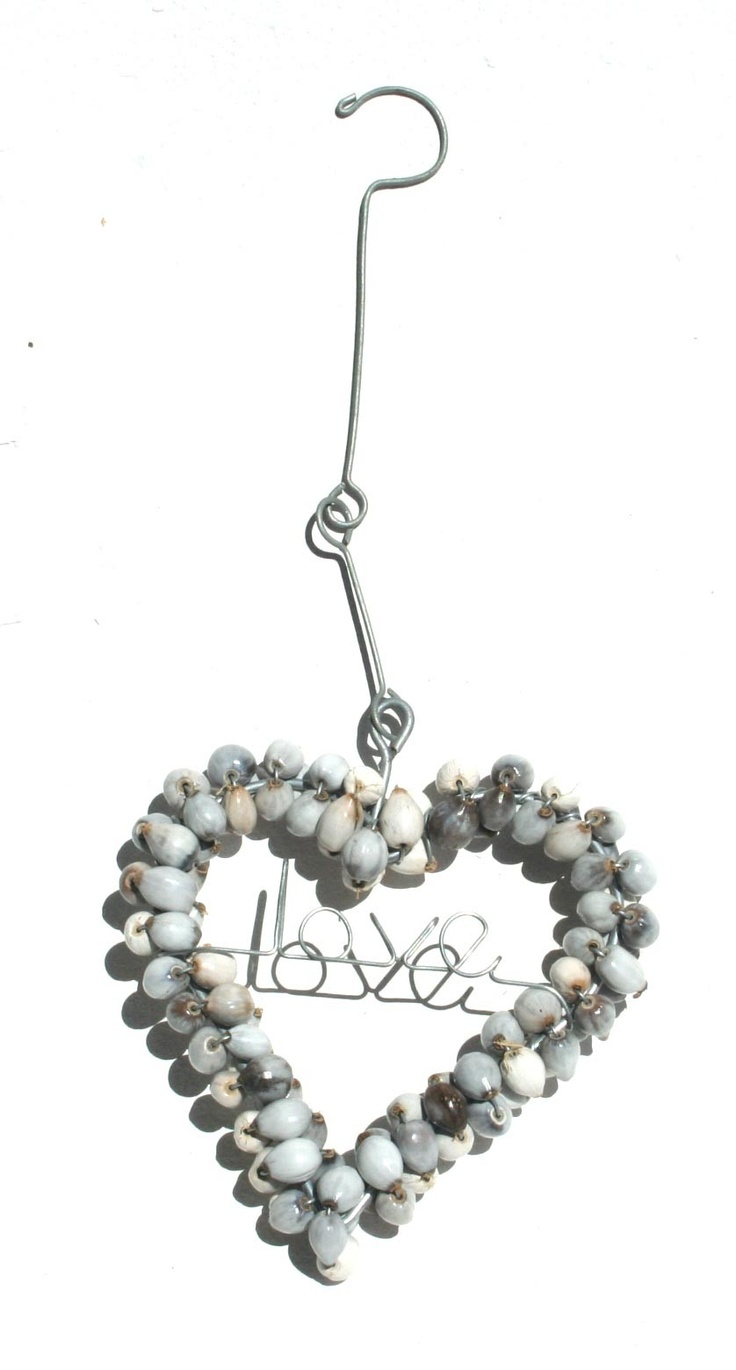 Hanging wire heart with Zulu teething beads