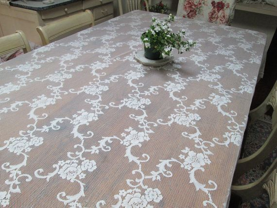Vintage Wedding Sheer Lace Tablecloth Creamy By HerminasCottage, $59.00 |  Romance | Pinterest | Cottage Chic, Wedding And Shabby