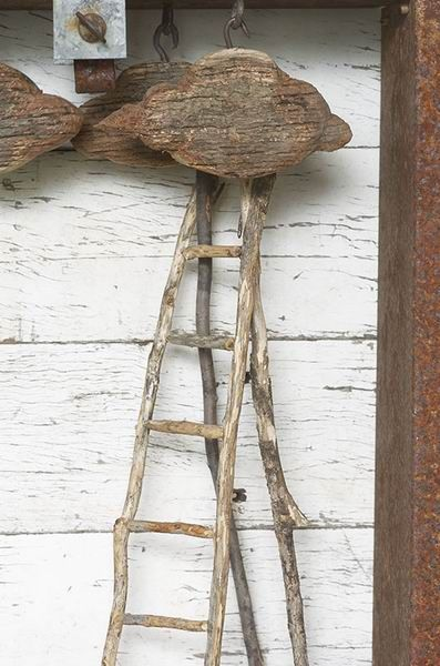 Louise Dickmann. Time for a Change 2007, Found object, wood, twigs, H365 x W310 x D155 mm, © Pascal Veyradier, (detail).
