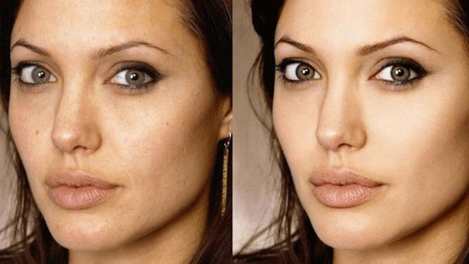 """Angelina Jolie antes y después del retoque digital.  Los """"efectos especiales"""" del Photoshop Un antes y después sorprendente te muestra las diferencias que se pueden lograr en las fotos gracias al uso de los retoques digitales."""