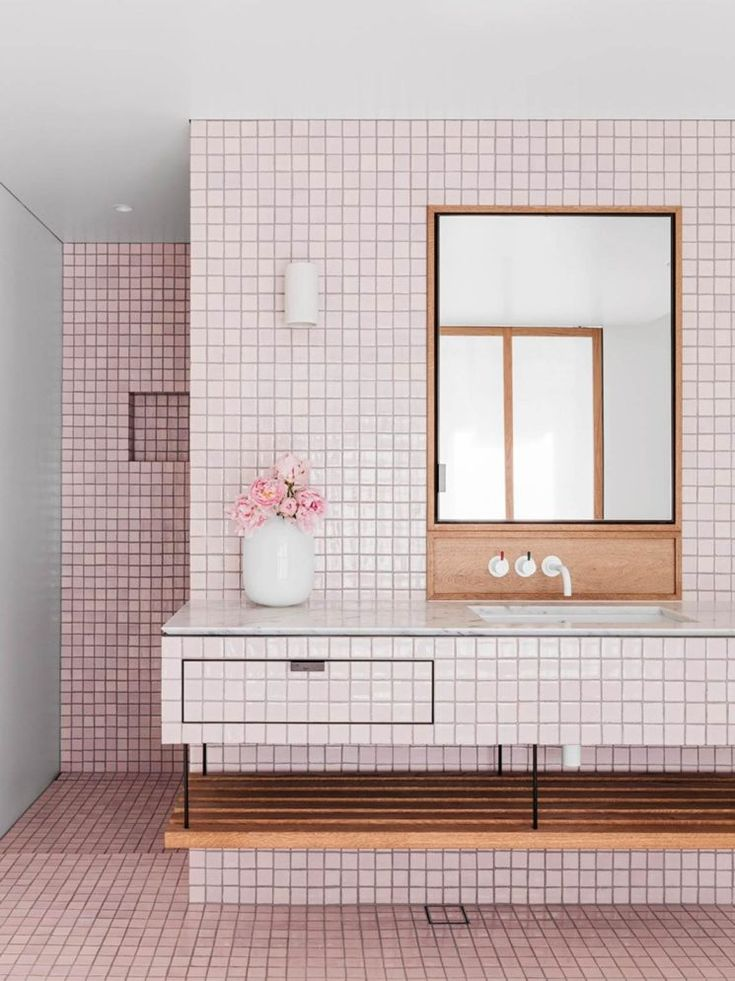 And why not a pink terracotta bathroom