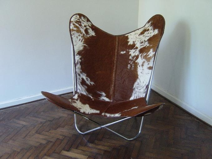 BROWN And WHITE Cowhide Leather BKF Butterfly Chair | EBay
