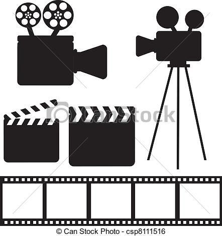 Vector - cine, elementos - stock de ilustracion, ilustracion libre de, stock de iconos de clip art, logo, arte lineal, retrato de EPS, Retratos, gráficos, dibujos gráficos, dibujos, imágenes vectoriales, trabajo artístico, Arte Vectorial en EPS