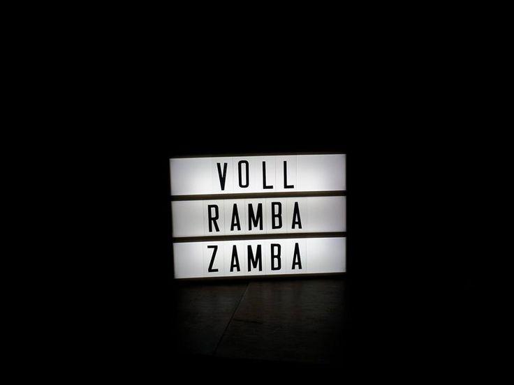 "Lichtbox Spruch: ""Voll Ramba Zamba"""