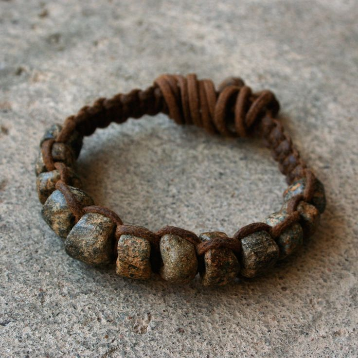 Ancient Granite Bead Macrame Bracelet Rustic Gray Black and Brown