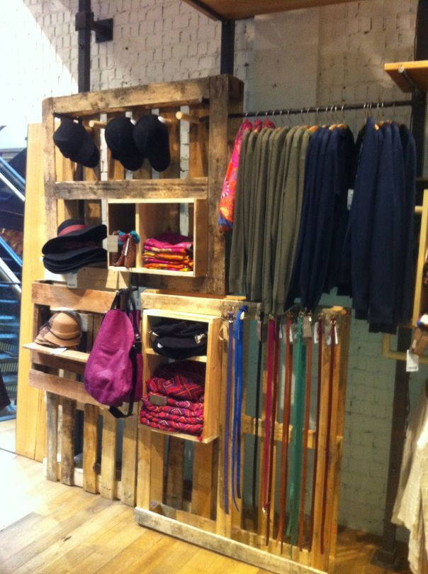 clothing display made of pallets in Anthropology shop