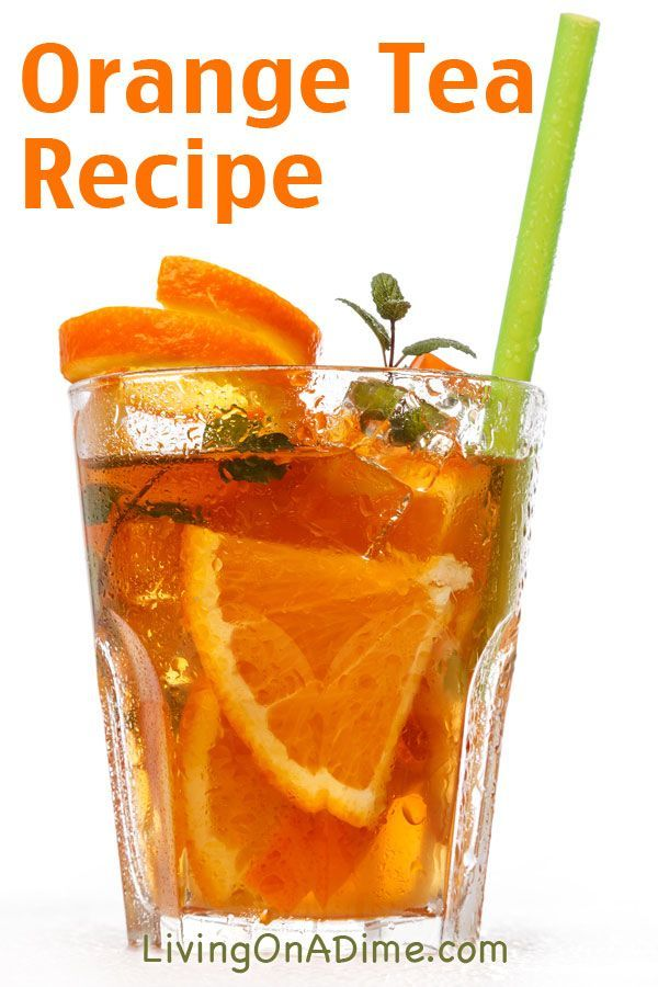 Orange Tea Recipe -2-3 cups brewed tea, still hot 1 cup sugar 1 orange, sliced 1 tsp. vanilla Dash cinnamon  Place the oranges in the bottom of a pitcher. Add vanilla and cinnamon. Pour the tea into the pitcher while still hot so the sugar dissolves and top off with water. Serve over ice.