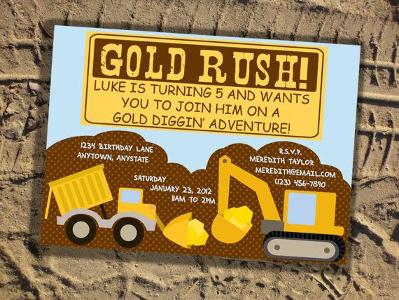 Es Gold Rush Party Invitation Gold Rush Collection By Pixelseeds On Etsy