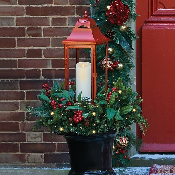 The Lighted Christmas Lantern With Greenery Is A Delightful Christmas Decoration You Can Cr Christmas Lanterns Outdoor Christmas Decorations Outdoor Christmas