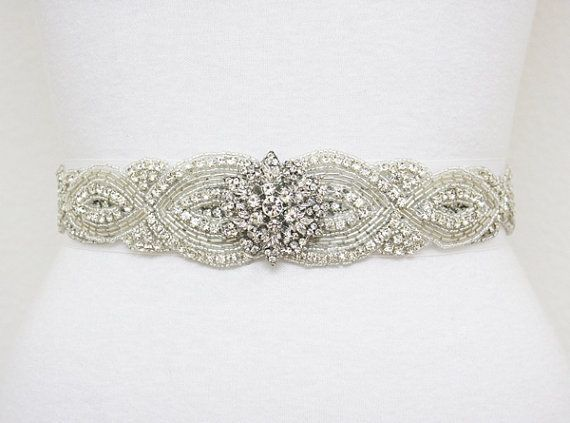 7 beaded sash for todays bridal (2). Rhinestone brooch and seed beaded sash.