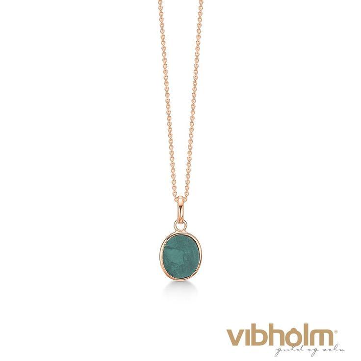 Kranz & Ziegler halskæde i rosaforgyldt sølv med grøn marmor 2403718-45
