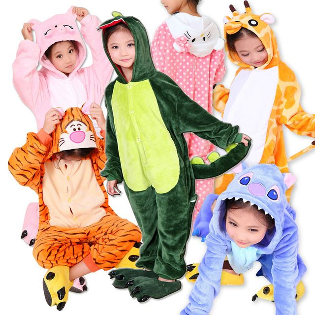Warm winter flannel children's pajamas with long sleeves cartoon animals Cosplay for children Onesie Unicorn Shoes for girls Shoes for boys long pajamas for children