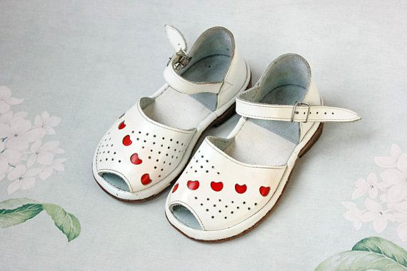 d8e72aa602347 USSR Kids Sandals / Red Hearts White Patent Leather Soviet Peep Toe ...