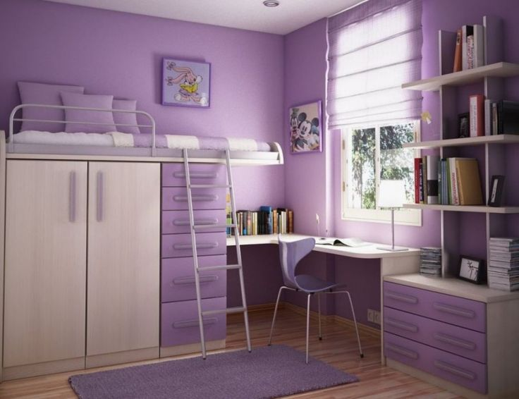 Attractive Cool Room Color Ideas: Fascinating Bedroom Color Ideas Impressive Cool Kids Bedroom Color Ideas Purple Painted Wall Drawers Chair Cabinet Cushions And Window Blind Also Flatwoven Rug Bookshelves Study Desk With Table Lamp White Shade Bedroom With Gloss ~ idungu.com Interior Designs Inspiration