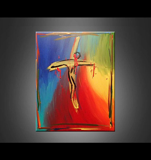 Jesus cross abstract acrylic painting rainbow modern red for Cross paintings on canvas