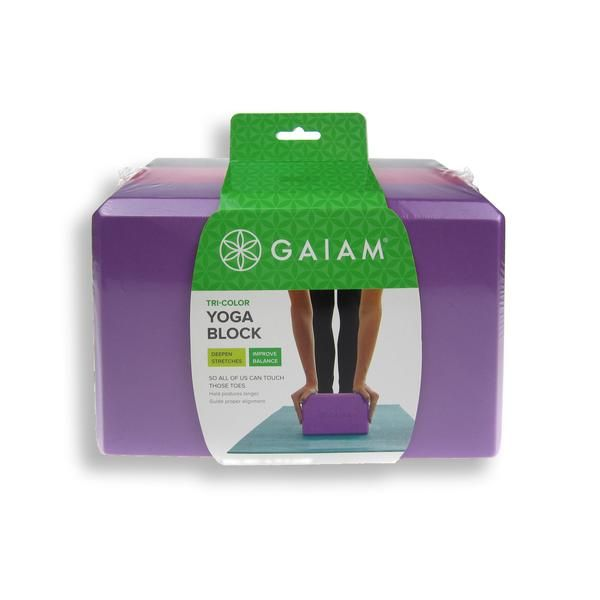 GAIAM purple tonal tri colour yoga block is lightweight yet stable. Essential for any yoga practice. Buy online for delivery throughout Australia.