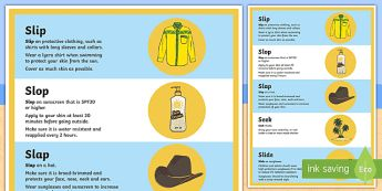 Slip, slop, slap, seek, slide A2 Display Poster - Surf Life Saving Australia, sun safety, sun safe, life saver, lifeguard