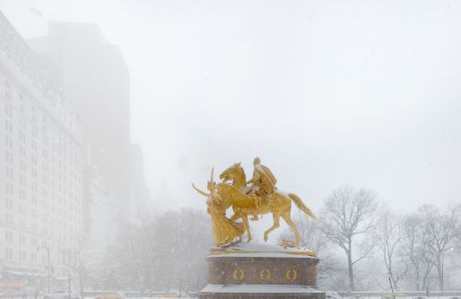 Stock Photo : General Sherman statue in snow storm