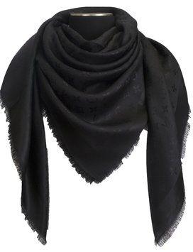 Louis Vuitton NEW! LOUIS VUITTON Monogram Black Silk/Wool Shawl Scarf