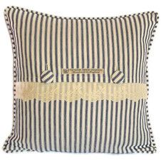 French cotton tciking and lace cushion cover with piped edge and covered button fastening. - Welcome to Personal Space Interiors - the home of fabulous handmade vintage, retro and contemporary cushions, curtains and accessories