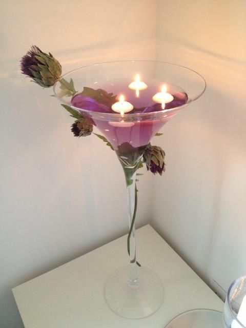Martini Glass With Scottish Thistle Very Effective For A Table Centre Piece Wedding Table
