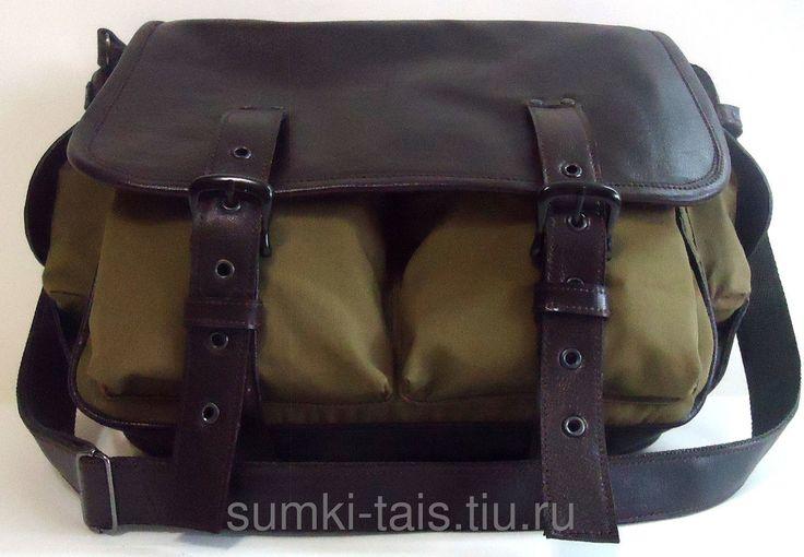"""Мужская кожаная сумка-мессенджер с текстилем """"Самсон"""" цвета хаки в стиле милитари, фото 6"""