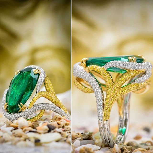 GREEN EMERALDS & DIAMONDS RING! We LOVE colors! This is our choice of ring for today. What do you Think?#santabarbara #malibu #beverlyhills #nyc #dallas #diamonds #emerald #emeraldring #ring #rings #fashion #women #luxury #jewelry #love #gift #gifts #anniversary #engagementring #raimanrocks