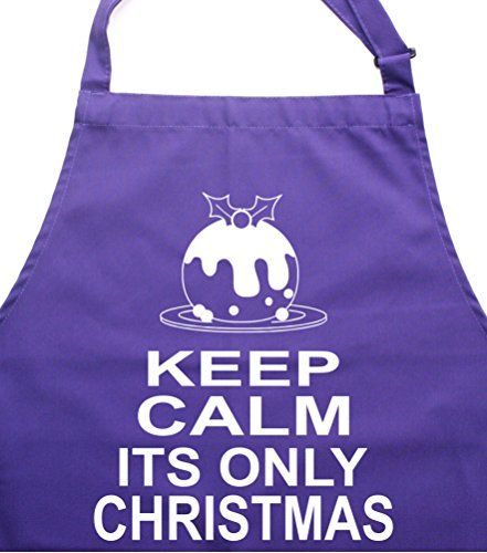 KEEP CALM IT'S ONLY CHRISTMAS' Purple Apron.
