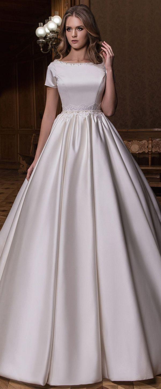 Modest Satin Bateau Neckline Natural Waistline A-line Wedding Dress With Lace Appliques & Beadings