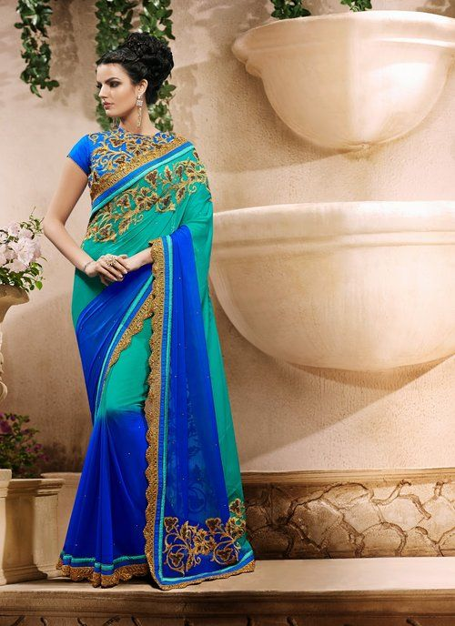 Butta Blue & Greenish Blue Embroidered Saree