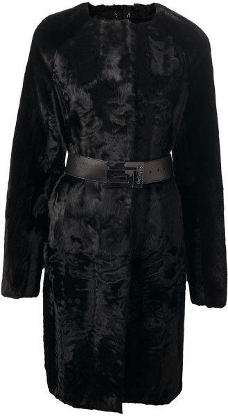 Guy Laroche Belted Fur Coat - Lyst