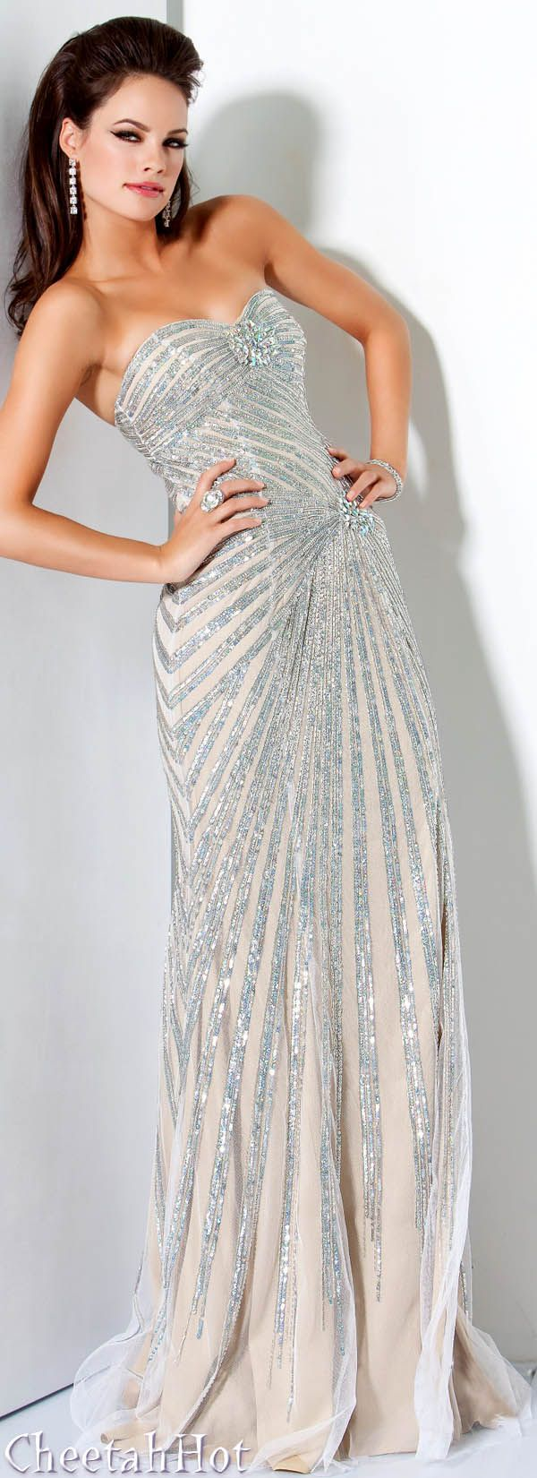 JOVANI - Authentic Designer Dress - Silver/Nude Strapless Gown