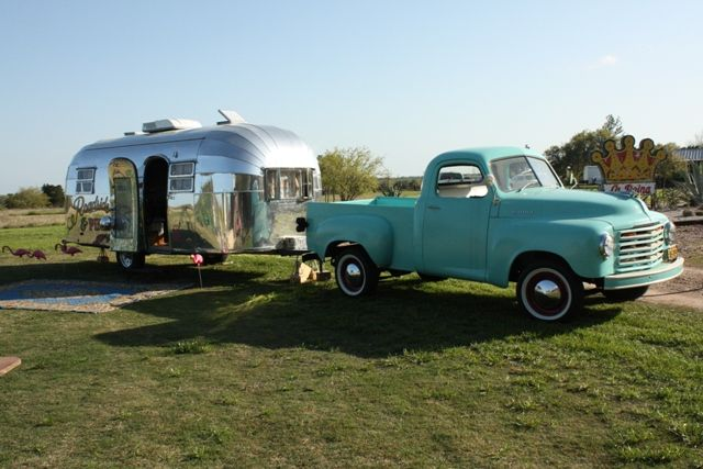 what a perfect combo for adventure..lovin the blue truck!: Vintage Trailers, Old Trucks, Cars, Vintage Trucks, Roads Camps, Camps Trailers, Roads Trips, Airstream Trailers, Vintage Campers