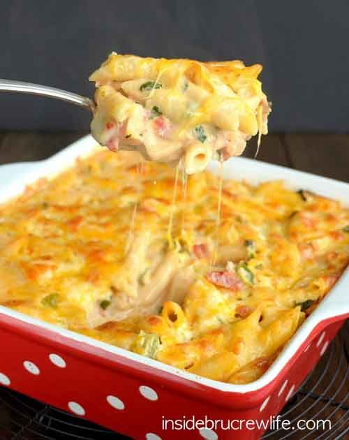 sponsored links Chicken Bacon Ranch Pasta Bake This chicken bacon ranch pasta is one of my favorite recipes to make at home! Although it's not the quickest or easiest, it's always a winner with my husband (not a pasta lover!). What you will need:pasta (penne),red onion,green peppers,olive oil, garlic,can of diced tomatoes,cooked chicken,cooked bacon,spinach leaves,evaporated milk,pepper jack cheese,ranch salad dressing andcheddar cheese. For the full recipe and directions…
