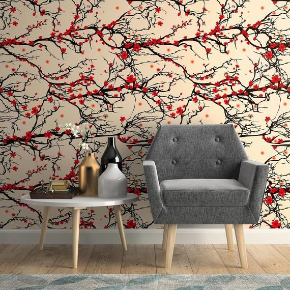 Black And Red Japanese Floral Peel And Stick Removable Wallpaper 9975 Removable Wallpaper Wallpaper Panels Peel And Stick Wallpaper