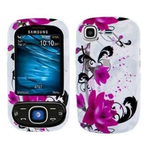 Samsung Strive A687 Cell Phone Red Flower on White Protective Case Faceplate Cover (Wireless Phone Accessory)
