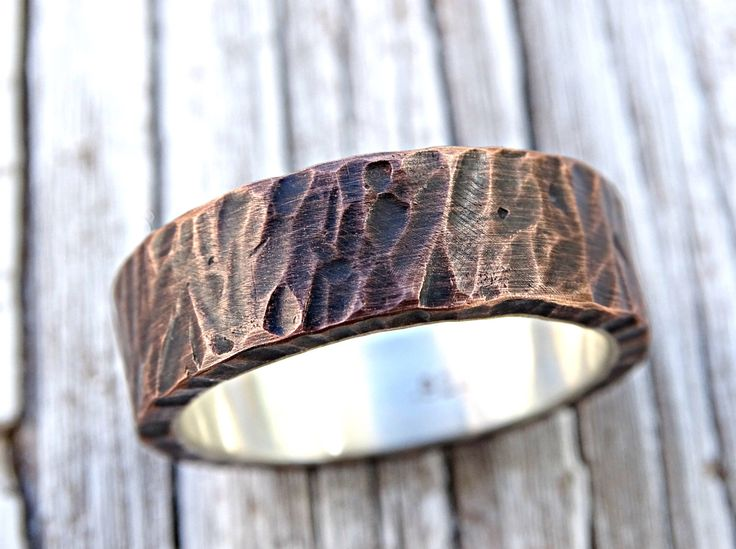 mens wedding band copper, rustic mens ring copper silver, mens wedding ring, unique mens ring wood structure, personalized mens ring by CrazyAssJD on Etsy https://www.etsy.com/ca/listing/285846697/mens-wedding-band-copper-rustic-mens